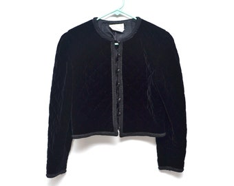 Quilted Black Short Velvet Jacket