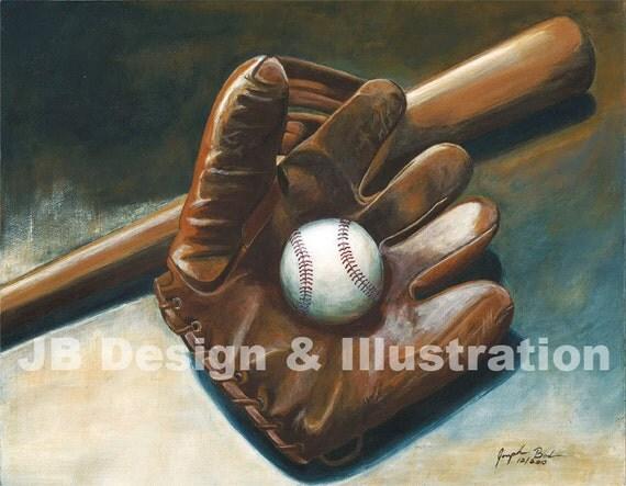 Baseball Glove Paint : Vintage baseball glove bat painting print