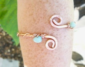Recycled Copper Arm Cuff with Amazonite