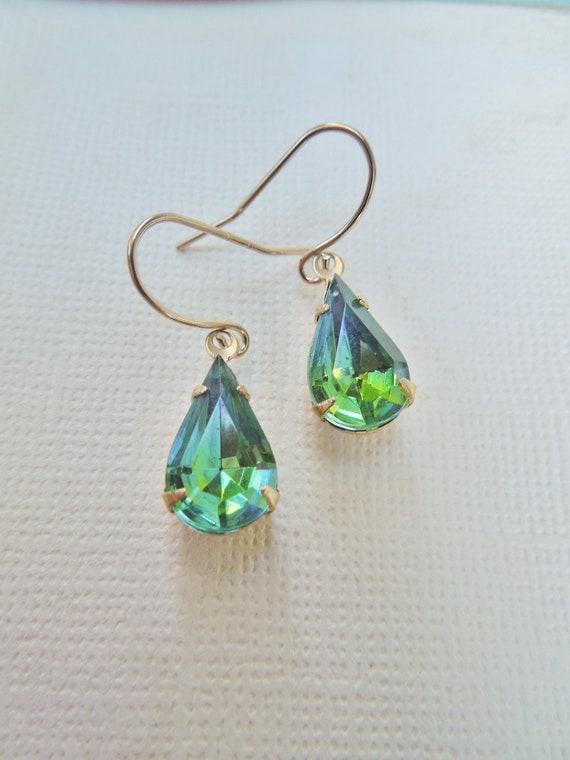 Vintage Glass Jewel Earrings - Peridot Green and Aqua Blue - Vintage Dual Tone Glass Teardrop Earrings - 14K Gold