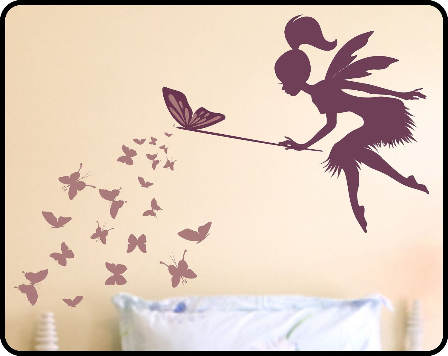 Butterfly fairy with butterfly wand vinyl wall by wallcrafters for Butterfly wall mural stickers