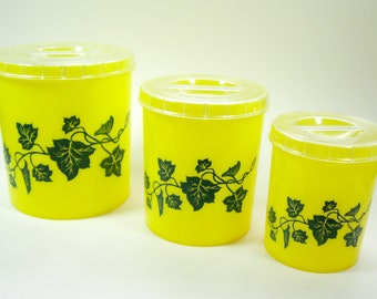 1950s Yellow Kitchen Canisters Ivy Set of 3 Kitsch Plastic