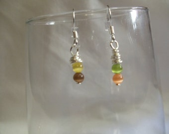 Multi-colored Drop Earrings on Silver Posts