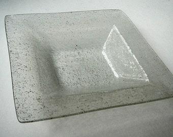 Vintage Square Bubbled Glass Bowl