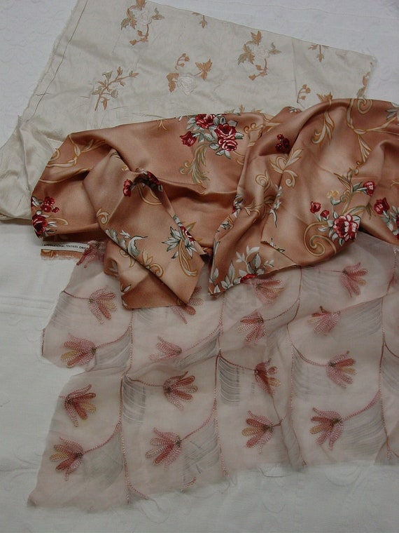 Three Pieces Silk Fabric Scraps for Doll Clothes or Projects