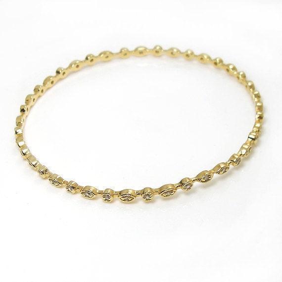 Cz Diamond Bangle Bracelet, 18k yellow Gold on Silver 925, Tennis Jewelry