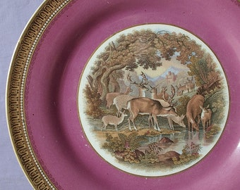 Antique 1860's Prattware transferware plate, Staffordshire England porcelain plate, pink plate, Victorian plate, deer animal collectible
