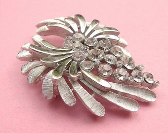 Vintage 1960's Crown Trifari brooch pin, rhinestone brooch, silver enamel brooch, mid century wedding brooch, bridesmaid jewelry