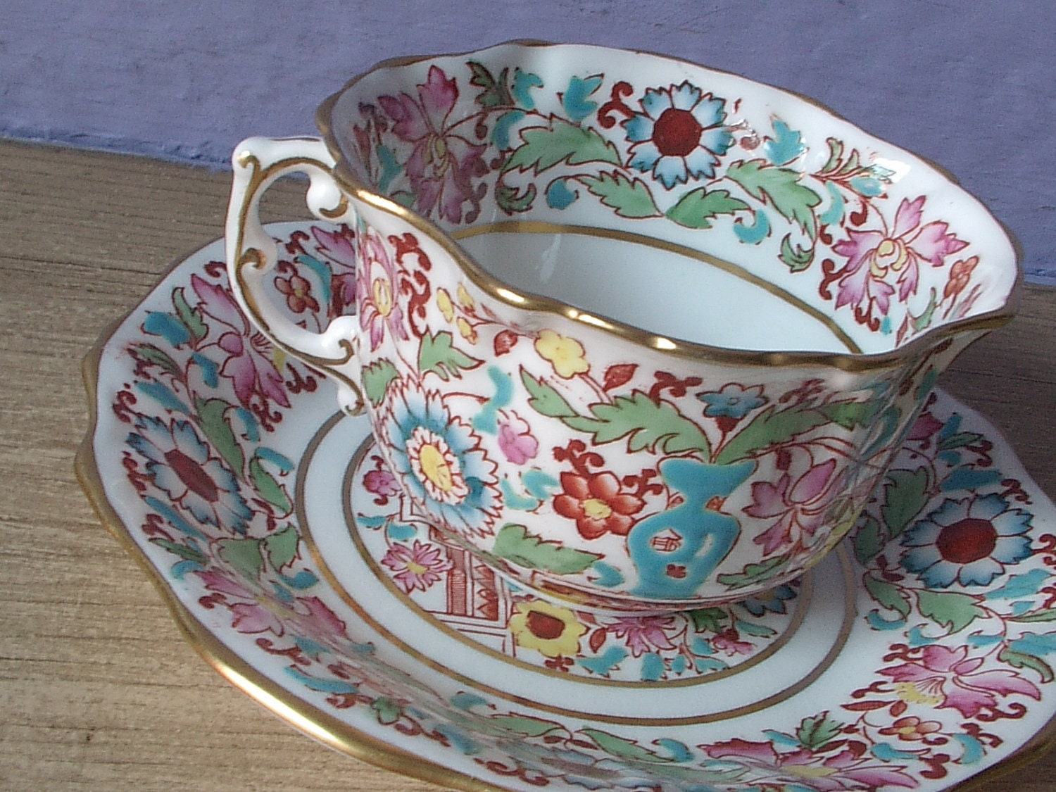 antique tea cup and saucer set hammersley english by. Black Bedroom Furniture Sets. Home Design Ideas