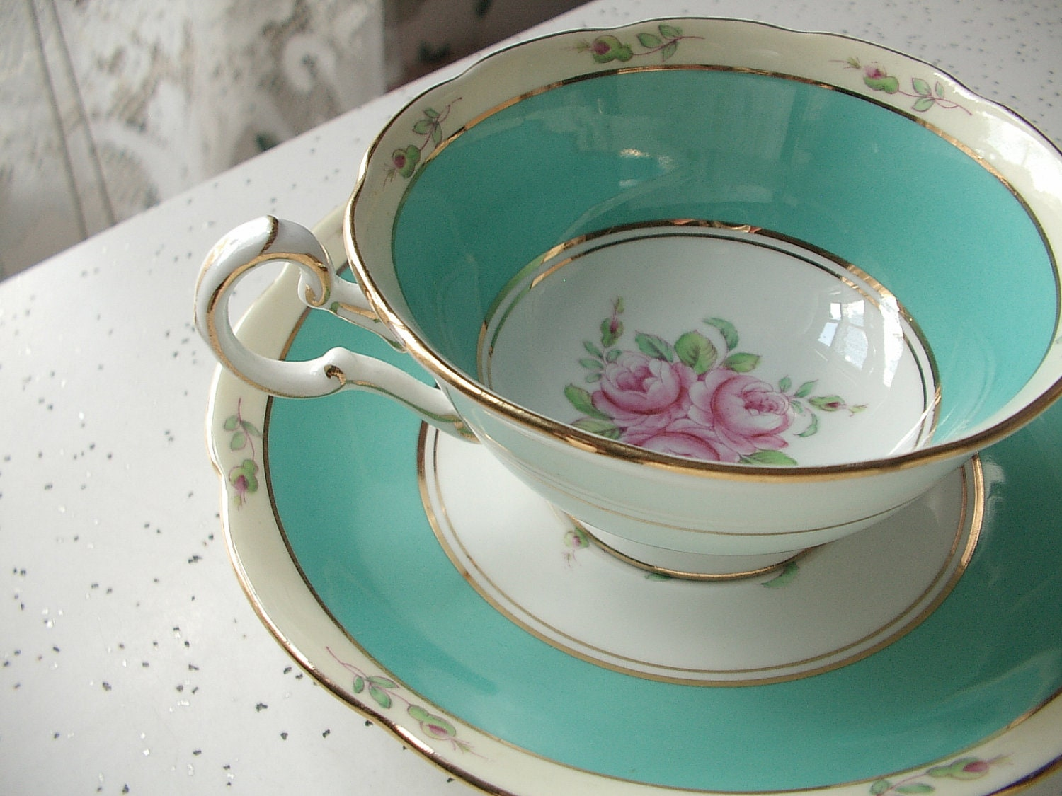 antique turquoise green tea cup and saucer set by. Black Bedroom Furniture Sets. Home Design Ideas