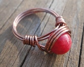 FREE SHIPPING- Ruby Red Artisan Copper Ring
