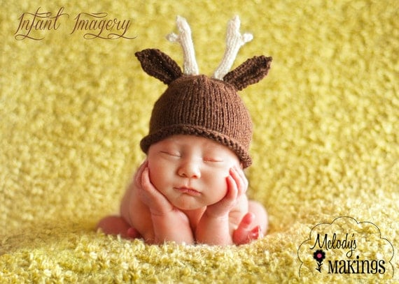 Antler Hat Knitting Pattern - 6 Sizes Included - PDF Sale