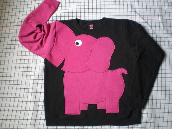 BRIGHTS on Black Elephant Trunk sleeve sweatshirt sweater jumper LIMITED Ladies M,L,XL