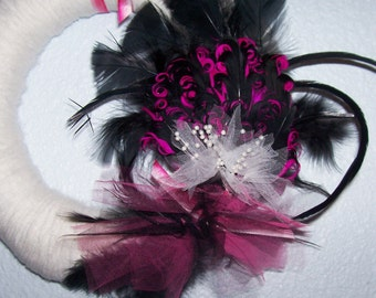 Fancy Smancy White, Black, and Pink Feather Yarn Wreath