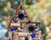 Romantic Outdoor Birdhouse Mosaic Garden Art Eco Friendly