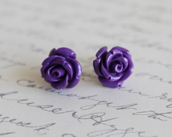 Dyed Coral 925 Sterling Silver Stud Earrings. Violet Roses Post Earrings. Flower Earrings.