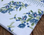 VINTAGE Antique Indigo floral print cotton tablecloth. New old stock.