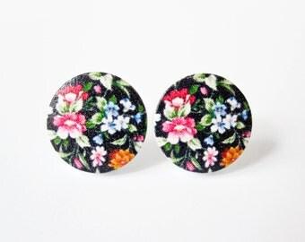 Shabby Chic Flower Earrings - Wood Jewelry - Shabby Chic Jewelry - Black Chintz - Surgical Steel Earrings