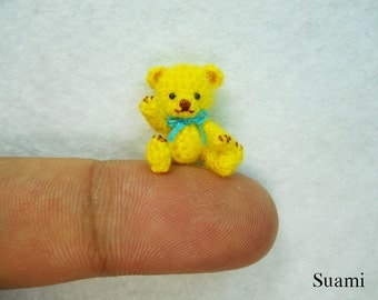 Miniature Mohair Bear 0.8 inch - Tiny Amigurumi Crochet Yellow Teddy Bear Blue Bow - Made To Order