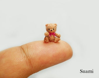 0.4 inch Crochet Micro Bear  - Tiny Amigurumi Miniature Teddy Mohair Bear Pink Bow - Made To Order
