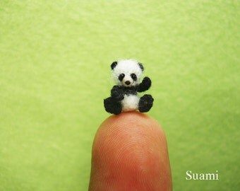 Micro Panda 1/2 inch - Thread Crochet Amigurumi Bear Stuff Animal - Made To Order