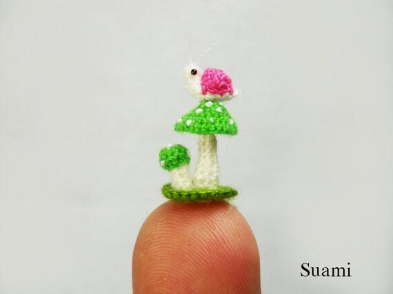 Micro Pink Snail Green Mushroom - Mini Tiny Crochet Miniature Snails - Made To Order