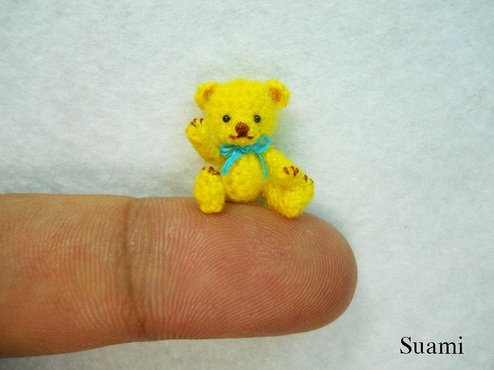 Amigurumi Mini Bear : Miniature Mohair Bear 0.8 inch Tiny Amigurumi Crochet Yellow