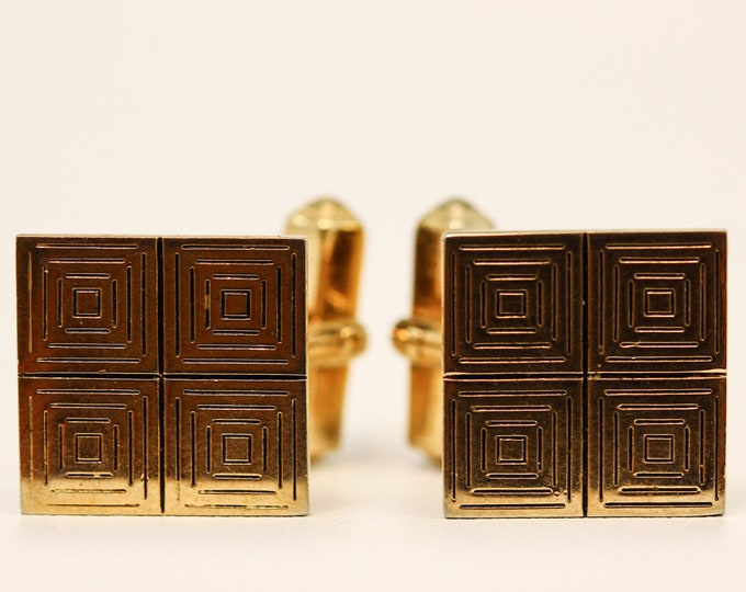 Gold Cuff Links Square Swank Vintage Cufflinks 7E