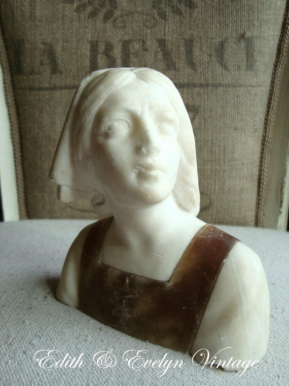 Antique Alabaster Marble Joan Of Arc Bust Statue Jeanne D Arc