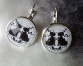 The Rorschach Test (illustration). Earrings Silver Plated. Circle Glass Tile Art Photo