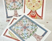 Celtic Blessing trees -  a set of four cards
