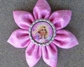 Tangled Fabric Hair Flower, Pink Swirl