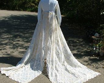 Wedding dress 1960s vintage bridal gown velvet with stunning trains