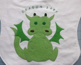 Dragon Baby Zodiac Animal Baby Bib Multiple colors available, made to order.