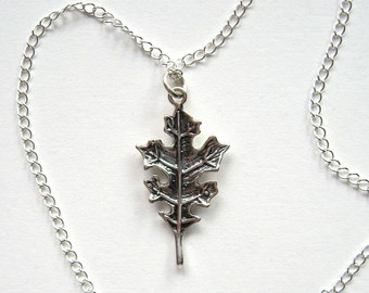 Silver Plated Oak Leaf Necklace - Enchanted Petite - Nature inspired jewelry, oak, leaf, Autumn necklace, leaf necklace, Fall necklace