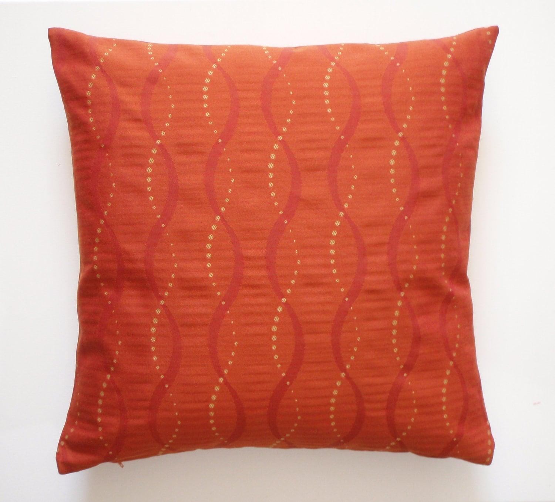 Throw Pillow Orange : Decorative Orange Gold Stripe Accent Throw Pillow by couchdwellers