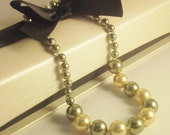 SALE - Hand Knotted Swarovski Pearl Bracelet in Light Green and Gold w/ Sterling Silver Spring Clasp