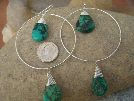 Large Hoop Earrings - Sterling Silver Turquoise Earrings - Turquoise Teardrops - December Birthstone
