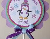 Colorful Penguin Winter ONEderland: Smash Cake Topper