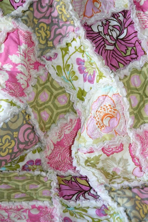 Baby Girl Gift Rag Quilt Amy Butler Pink Green Cream Nursery Ready to Ship