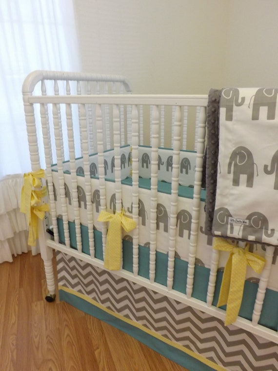 items similar to baby bedding made to order 4 pc modern elephant crib bedding set on etsy. Black Bedroom Furniture Sets. Home Design Ideas