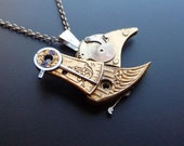 "Clockwork Bird Pendant ""Clockwork Jay"" Organic Bird Necklace Elegant Steampunk Balance Cock Sparrow Gear Robot Wing Silver Chain"