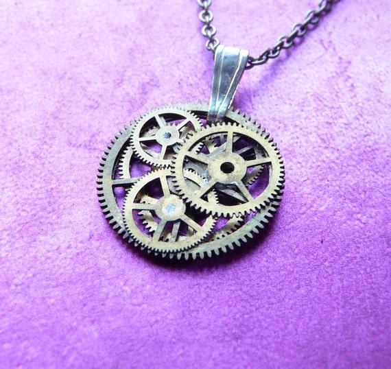 """Clockwork Pendant """"Mesh"""" Intricate Mechanical Watch Gear Necklace Wearable Art Sculpture Steampunk Pendant A Mechanical Mind OOAK"""