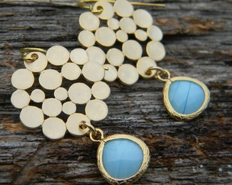 Gold Bubble and Turquoise Blue Dangle Earrings in Gold, High Fashion Earrings, Pretty Gift For Her