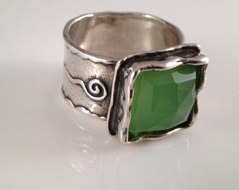 Designer Sterling Silver Ring Checkerboard Green Chalcedony Sidae
