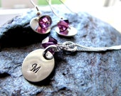 Bridesmaid Set - Bridesmaid Jewlery - Bridal Jewlery - Sterling Silver Earring and Necklace SET with Swarovski Crystals