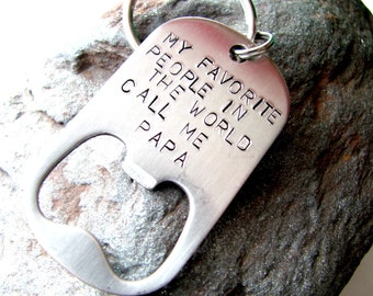 Personalized Keychain - Bottle Opener with YOUR Message Stamped - Strong Stainless Steel - Perfect Father or Groomsman Gift