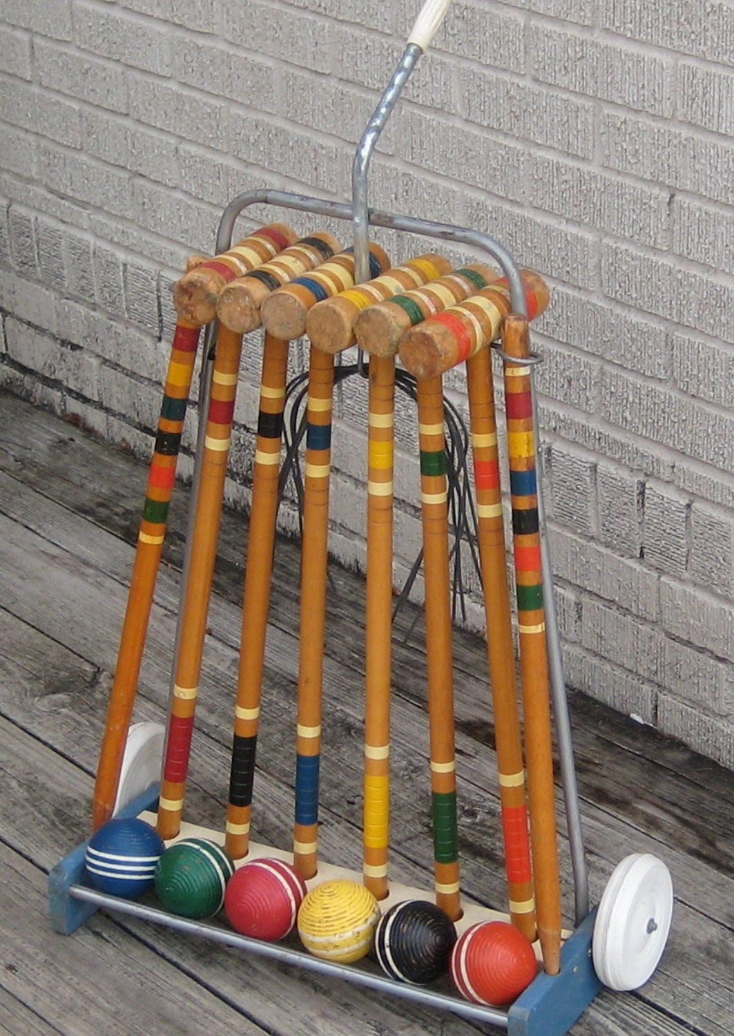 Vintage Croquet Set Rolling Stand Complete 6 Mallets