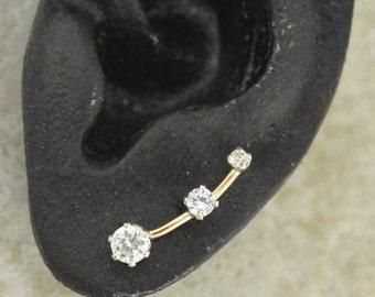 Three Cubic Zirconia - Earring Ear Cuff Minimalist Ear Pin Ear Climber Ear Sweep - SINGLE SIDE - 14K Gold Filled or Sterling Silver