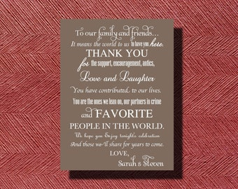 Printable Wedding Day Thank You Note To Guests